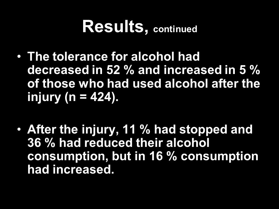 Results, continued The tolerance for alcohol had decreased in 52 % and increased in 5 % of those who had used alcohol after the injury (n = 424).The t