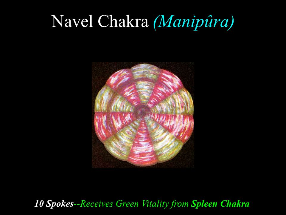 Navel Chakra (Manipûra) 10 Spokes--Receives Green Vitality from Spleen Chakra