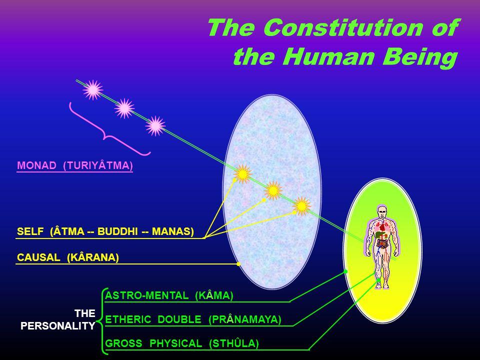 GROSS PHYSICAL (STHÛLA) ETHERIC DOUBLE (PRÂNAMAYA) ASTRO-MENTAL (KÂMA) CAUSAL (KÂRANA) SELF (ÂTMA -- BUDDHI -- MANAS) MONAD (TURIYÂTMA) THE PERSONALIT