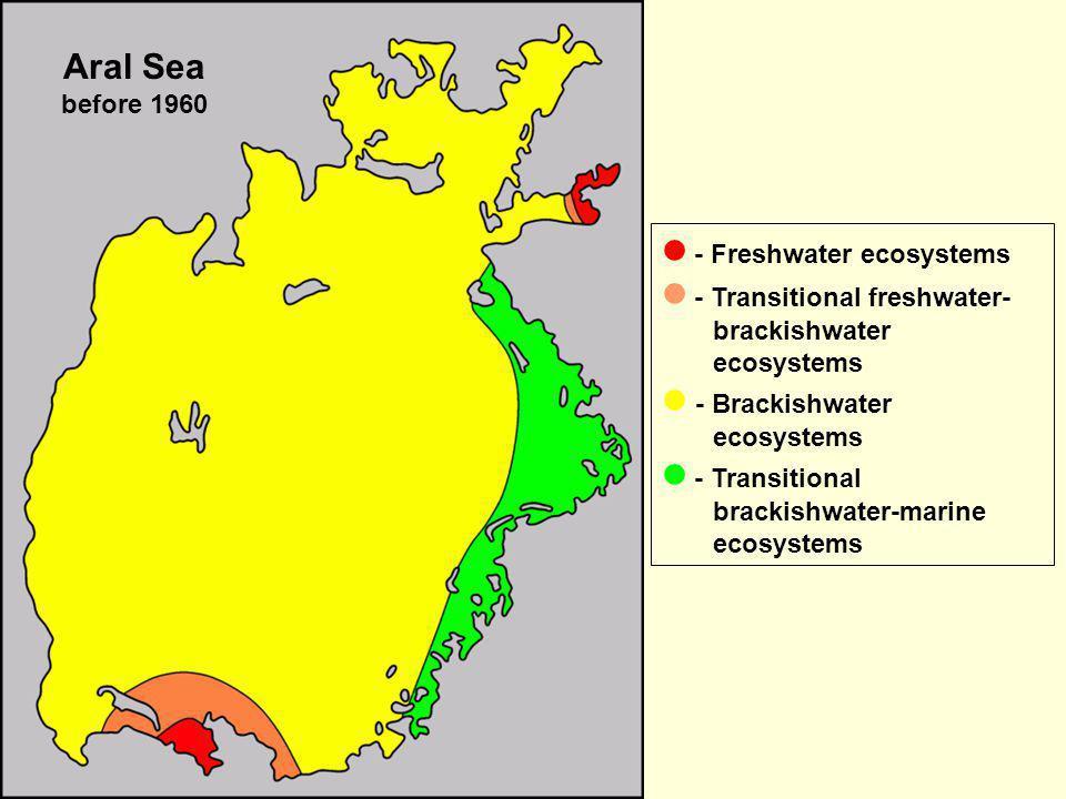 - Freshwater ecosystems - Transitional freshwater- brackishwater ecosystems - Brackishwater ecosystems - Transitional brackishwater-marine ecosystems