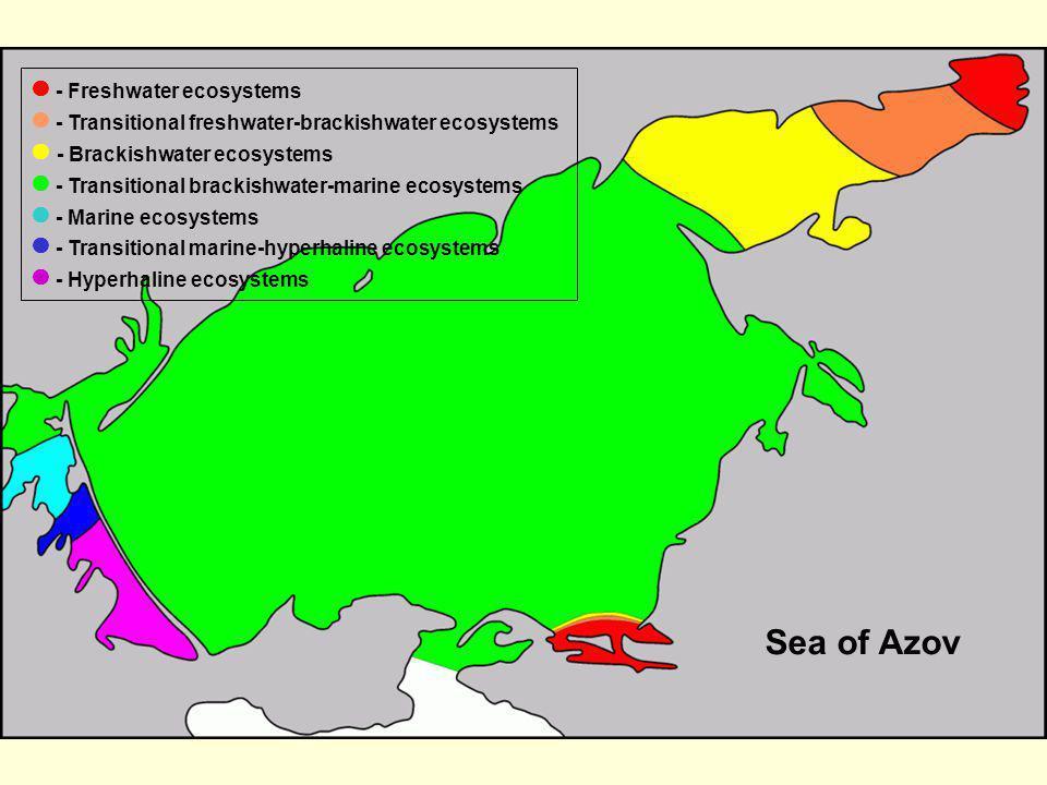 - Freshwater ecosystems - Transitional freshwater-brackishwater ecosystems - Brackishwater ecosystems - Transitional brackishwater-marine ecosystems -