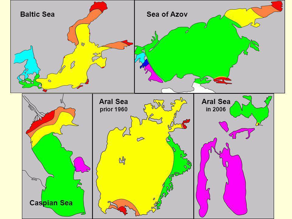Baltic Sea Caspian Sea Sea of Azov Aral Sea prior 1960 Aral Sea in 2006