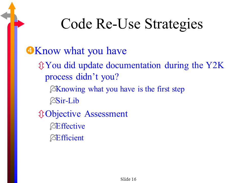 Slide 16 Code Re-Use Strategies Know what you have ôYou did update documentation during the Y2K process didnt you.