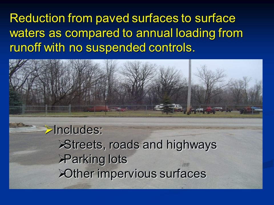Reduction from paved surfaces to surface waters as compared to annual loading from runoff with no suspended controls.