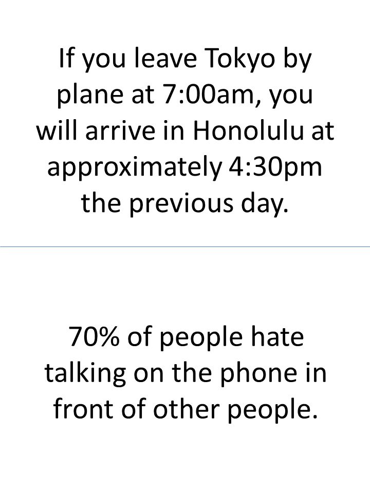If you leave Tokyo by plane at 7:00am, you will arrive in Honolulu at approximately 4:30pm the previous day. 70% of people hate talking on the phone i