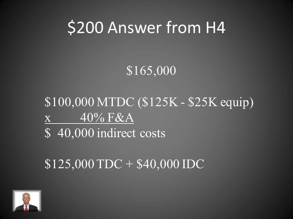 $200 Question from H4 An institution has a federally negotiated indirect cost rate of 40%. A research project is budgeted at $125,000 in direct costs