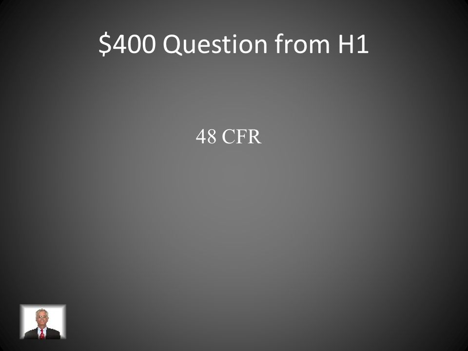$400 Question from H5 An association of federal agencies, academic research institutions with administrative, faculty and technical representation, and research policy organizations that work to streamline the administration of federally sponsored research.