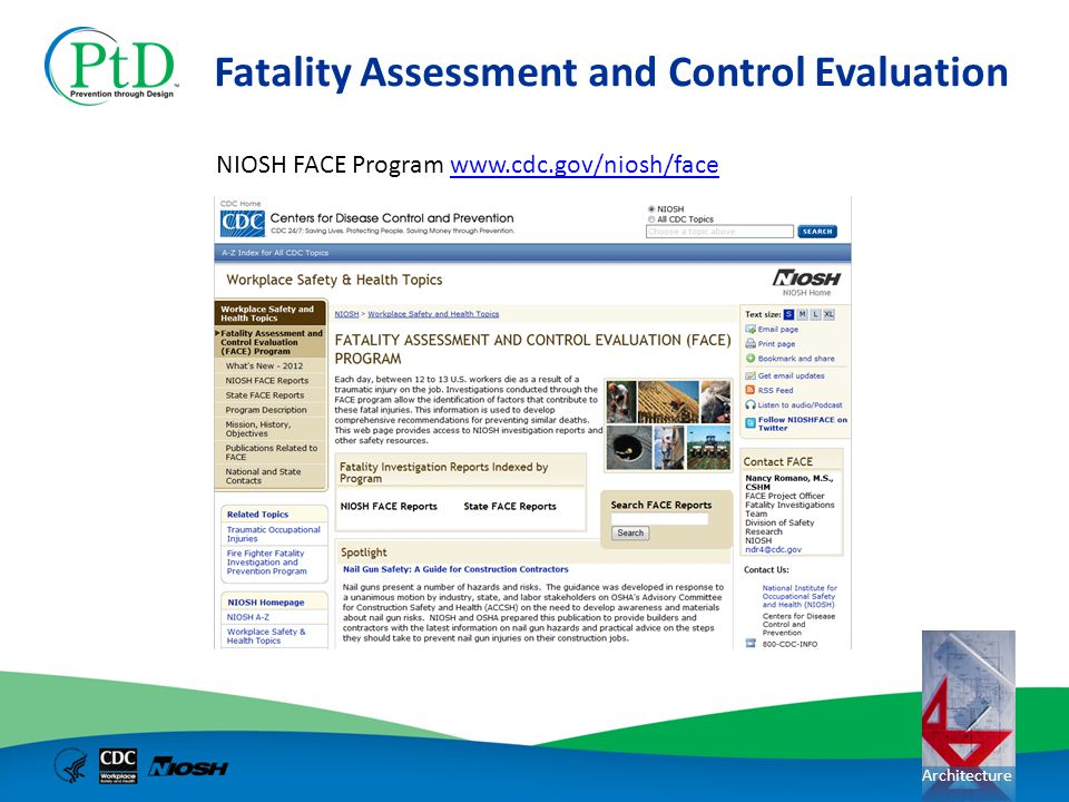 Architecture Fatality Assessment and Control Evaluation NIOSH FACE Program www.cdc.gov/niosh/facewww.cdc.gov/niosh/face