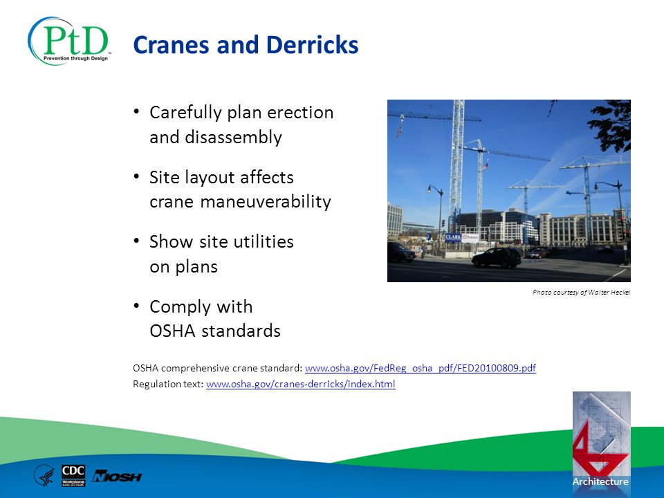 Architecture Cranes and Derricks Carefully plan erection and disassembly Site layout affects crane maneuverability Show site utilities on plans Comply