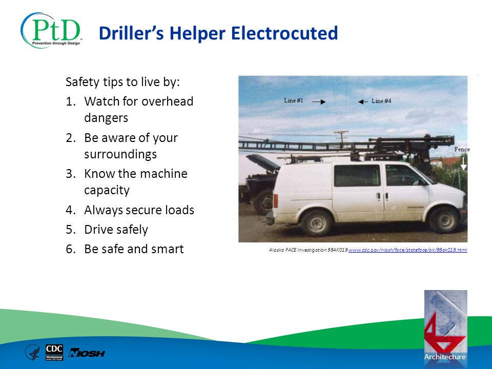 Architecture Drillers Helper Electrocuted Safety tips to live by: 1.Watch for overhead dangers 2.Be aware of your surroundings 3.Know the machine capa