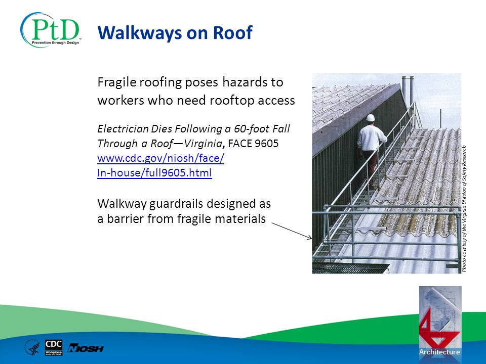 Architecture Walkways on Roof Fragile roofing poses hazards to workers who need rooftop access Walkway guardrails designed as a barrier from fragile m