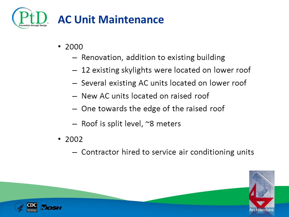 Architecture AC Unit Maintenance 2000 – Renovation, addition to existing building – 12 existing skylights were located on lower roof – Several existin
