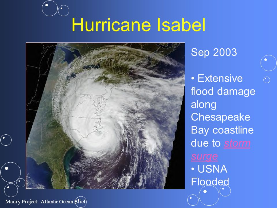 Maury Project: Atlantic Ocean Brief Hurricane Isabel Sep 2003 Extensive flood damage along Chesapeake Bay coastline due to storm surgestorm surge USNA