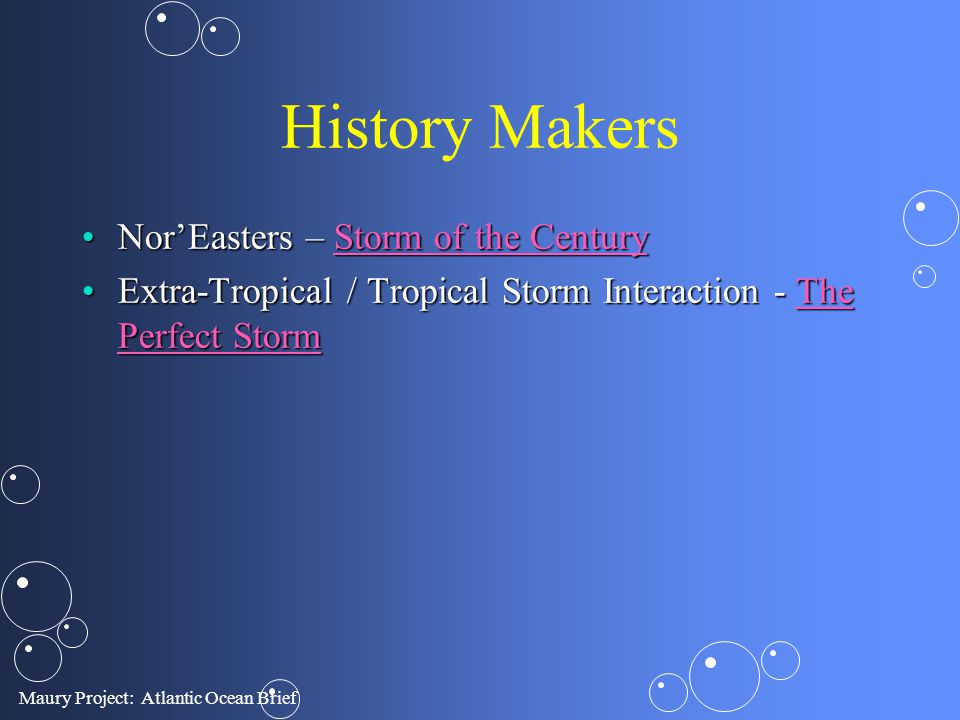 Maury Project: Atlantic Ocean Brief History Makers NorEasters – Storm of the CenturyNorEasters – Storm of the CenturyStorm of the CenturyStorm of the