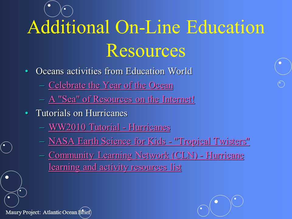 Additional On-Line Education Resources Oceans activities from Education WorldOceans activities from Education World –Celebrate the Year of the Ocean C