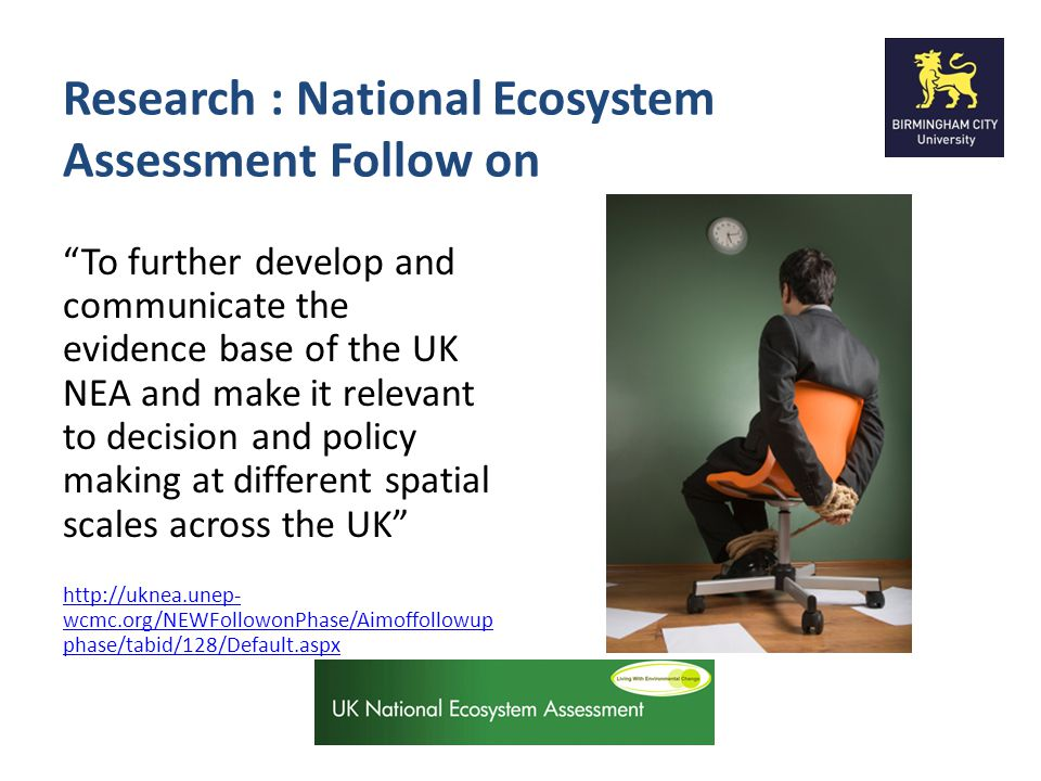 Research : National Ecosystem Assessment Follow on To further develop and communicate the evidence base of the UK NEA and make it relevant to decision