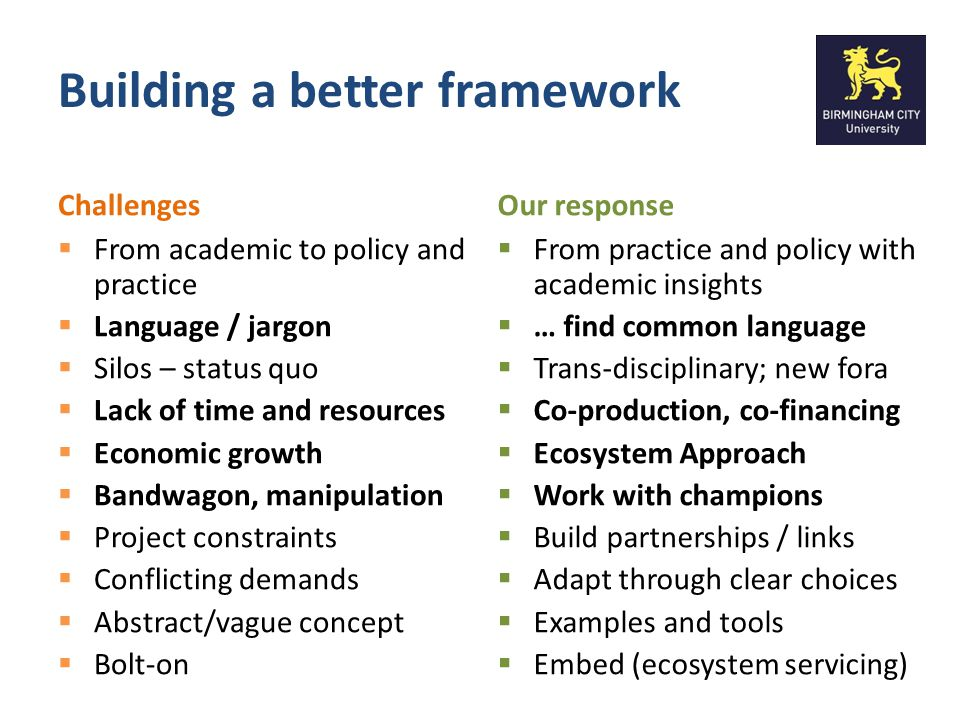 Building our Conceptual Framework