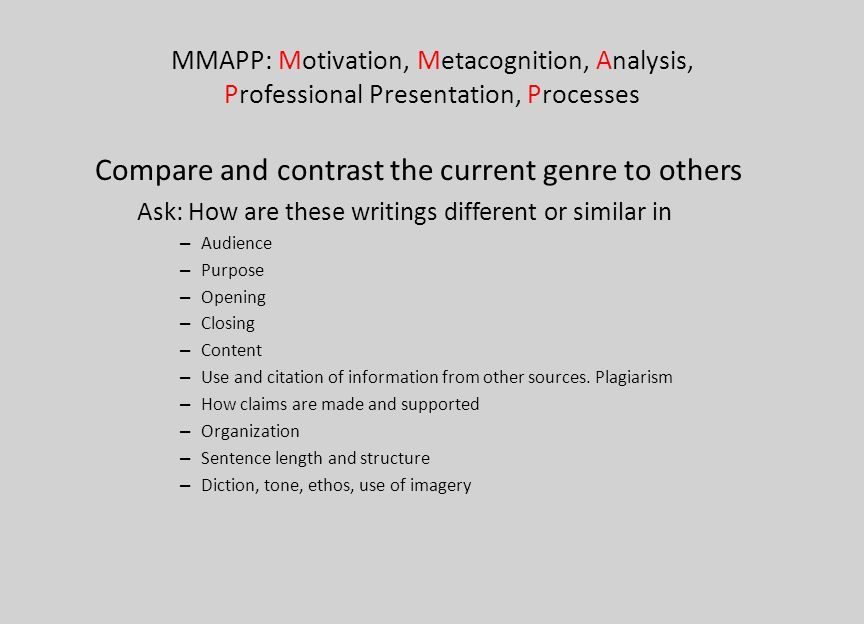 MMAPP: Motivation, Metacognition, Analysis, Professional Presentation, Processes Compare and contrast the current genre to others Ask: How are these w