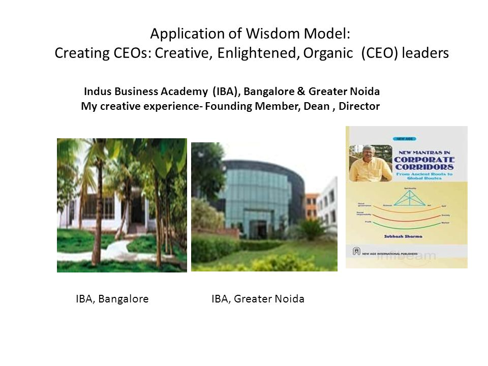 Application of Wisdom Model: Creating CEOs: Creative, Enlightened, Organic (CEO) leaders Indus Business Academy (IBA), Bangalore & Greater Noida My cr
