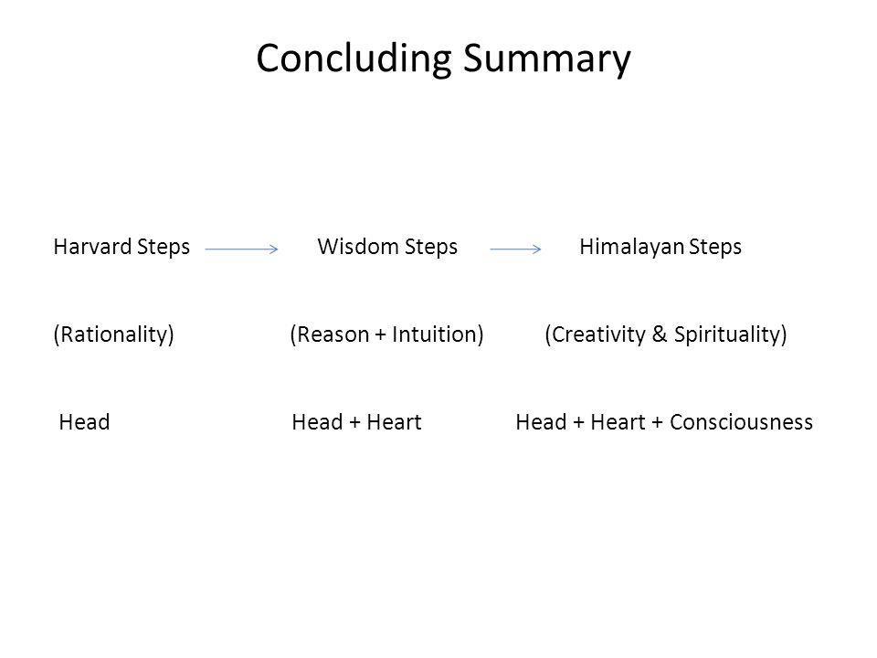 Concluding Summary Harvard Steps Wisdom Steps Himalayan Steps (Rationality) (Reason + Intuition) (Creativity & Spirituality) Head Head + Heart Head +