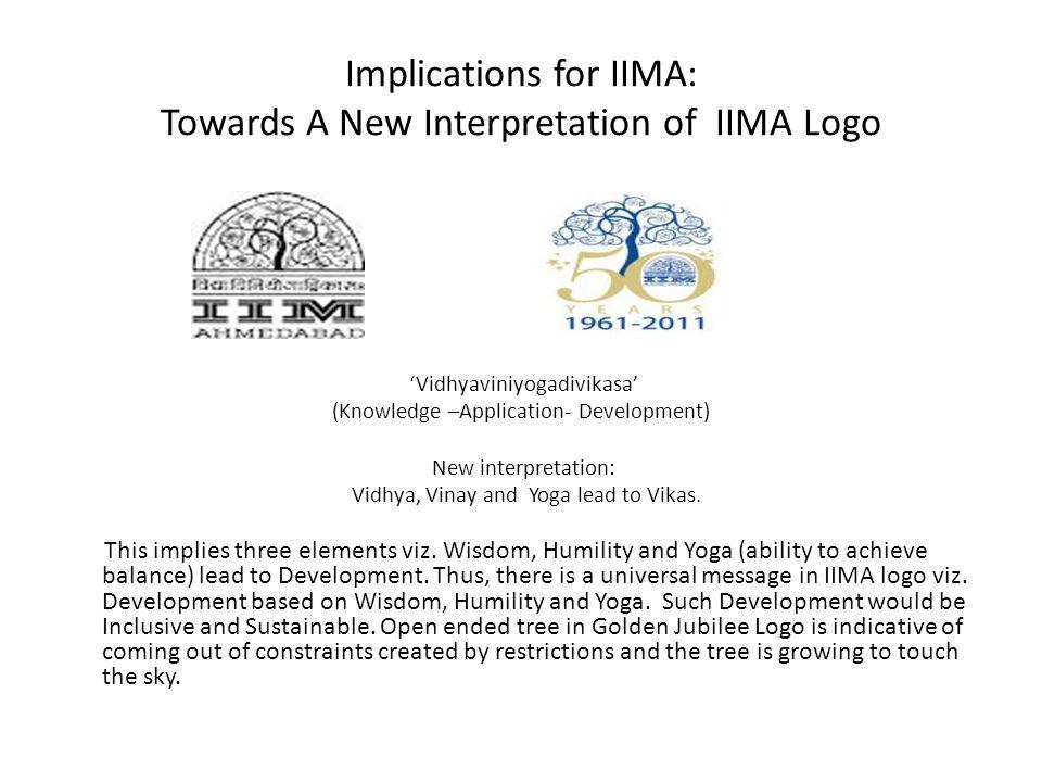 Implications for IIMA: Towards A New Interpretation of IIMA Logo Vidhyaviniyogadivikasa (Knowledge –Application- Development) New interpretation: Vidh