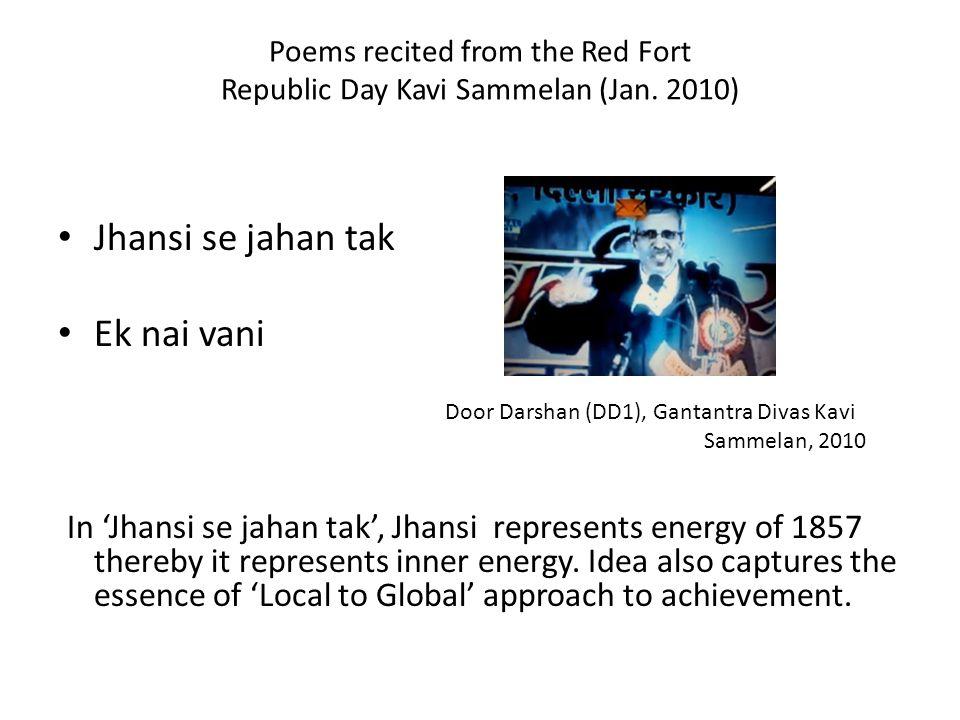 Poems recited from the Red Fort Republic Day Kavi Sammelan (Jan. 2010) Jhansi se jahan tak Ek nai vani In Jhansi se jahan tak, Jhansi represents energ