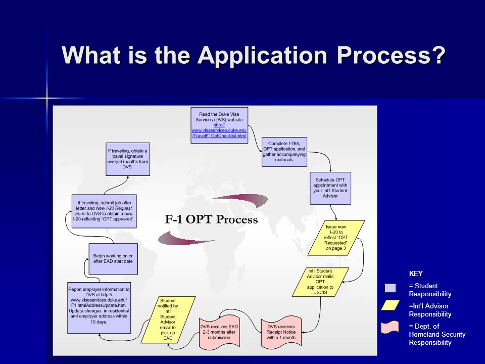 What is the Application Process? KEY = Student Responsibility =Intl Advisor Responsibility = Dept. of Homeland Security Responsibility