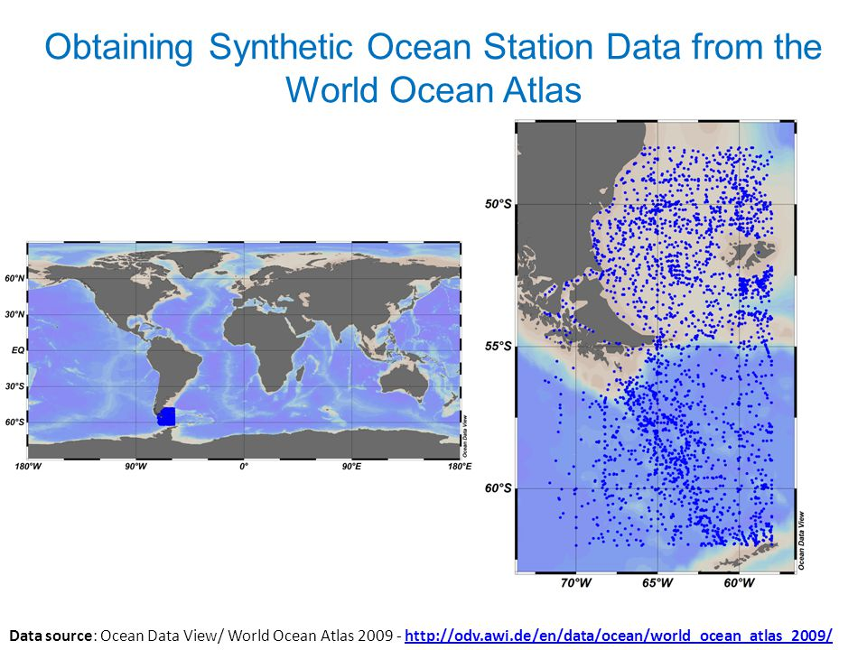 Obtaining Synthetic Ocean Station Data from the World Ocean Atlas Data source: Ocean Data View/ World Ocean Atlas 2009 - http://odv.awi.de/en/data/ocean/world_ocean_atlas_2009/http://odv.awi.de/en/data/ocean/world_ocean_atlas_2009/