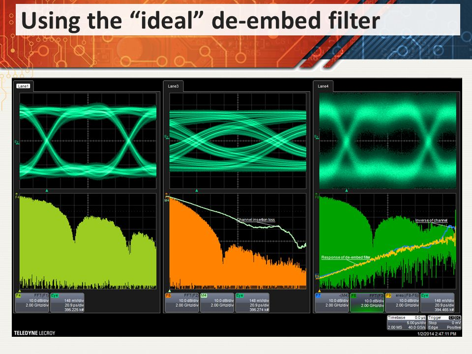 Using the ideal de-embed filter