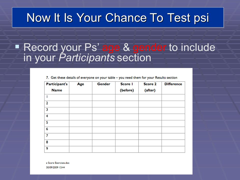 Now It Is Your Chance To Test psi Record your Ps age & gender to include in your Participants section