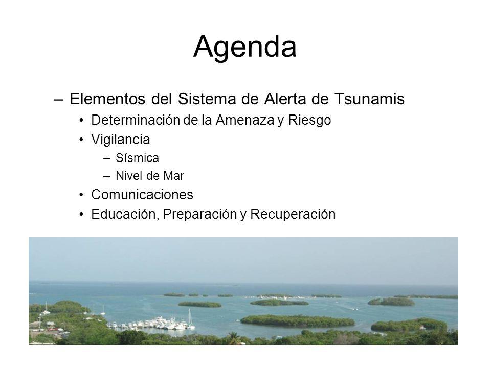 Agenda –Elementos del Sistema de Alerta de Tsunamis Determinación de la Amenaza y Riesgo Vigilancia –Sísmica –Nivel de Mar Comunicaciones Educación, Preparación y Recuperación