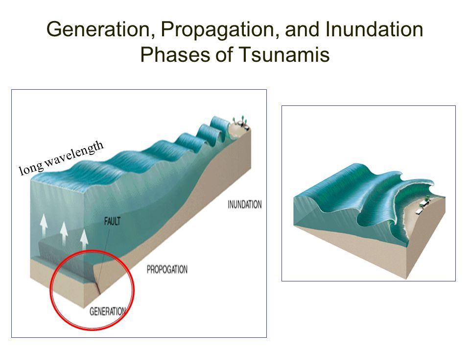 Generation, Propagation, and Inundation Phases of Tsunamis long wavelength