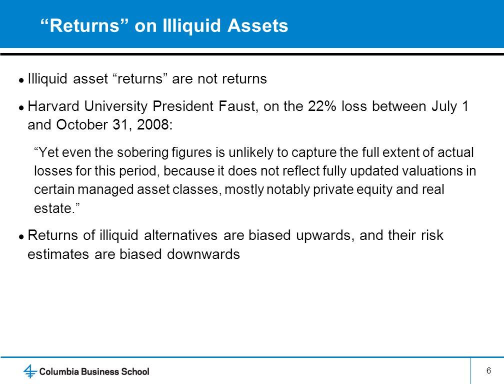 Returns on Illiquid Assets Illiquid asset returns are not returns Harvard University President Faust, on the 22% loss between July 1 and October 31, 2