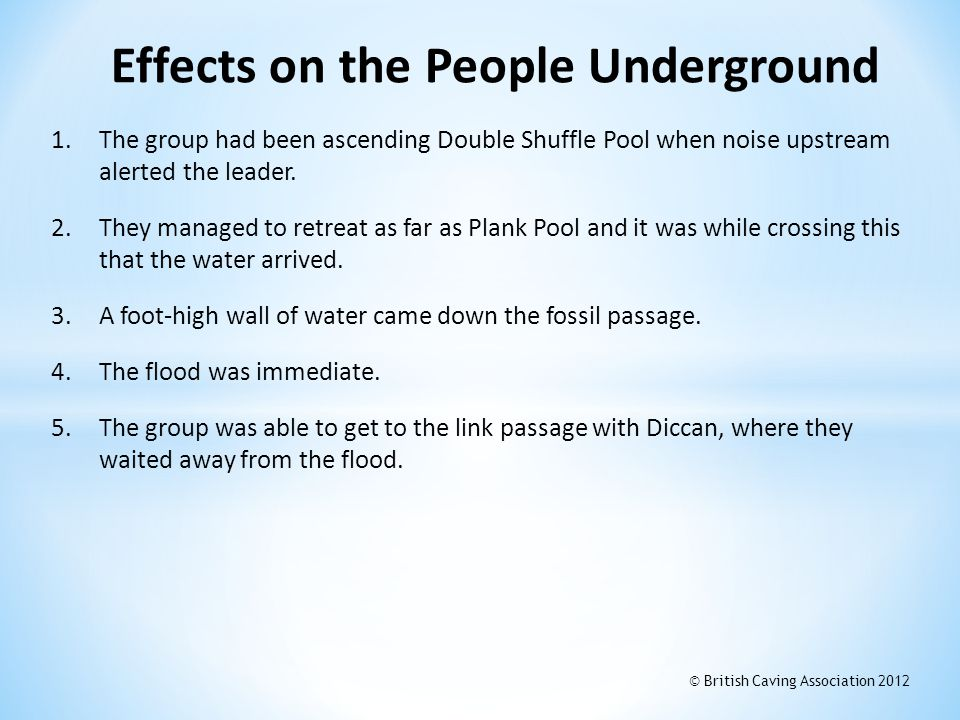 1.The group had been ascending Double Shuffle Pool when noise upstream alerted the leader. 2.They managed to retreat as far as Plank Pool and it was w