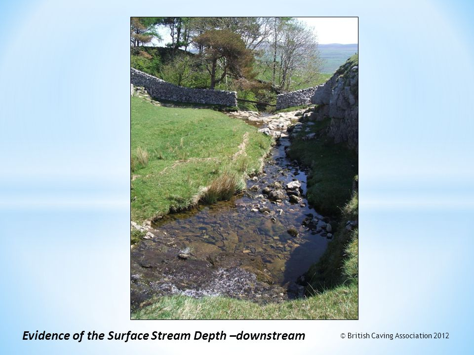 Evidence of the Surface Stream Depth –downstream © British Caving Association 2012