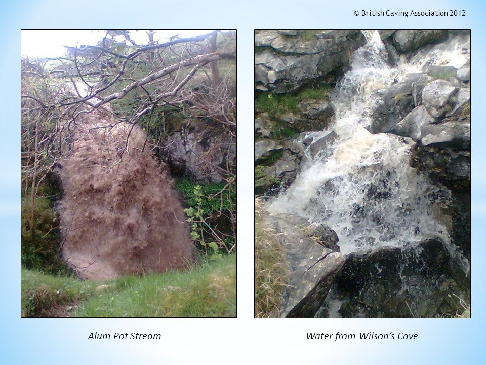 Alum Pot StreamWater from Wilsons Cave © British Caving Association 2012