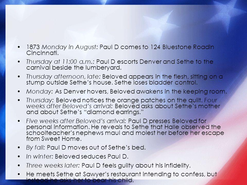1873 Monday in August: Paul D comes to 124 Bluestone Roadin Cincinnati.
