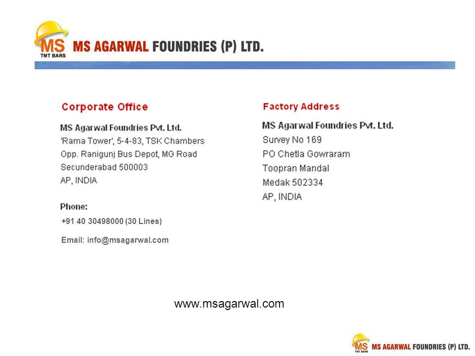 www.msagarwal.com +91 40 30498000 (30 Lines) Email: info@msagarwal.com