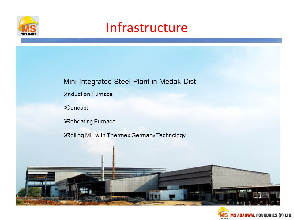 Infrastructure Mini Integrated Steel Plant in Medak Dist Induction Furnace Concast Reheating Furnace Rolling Mill with Thermex Germany Technology
