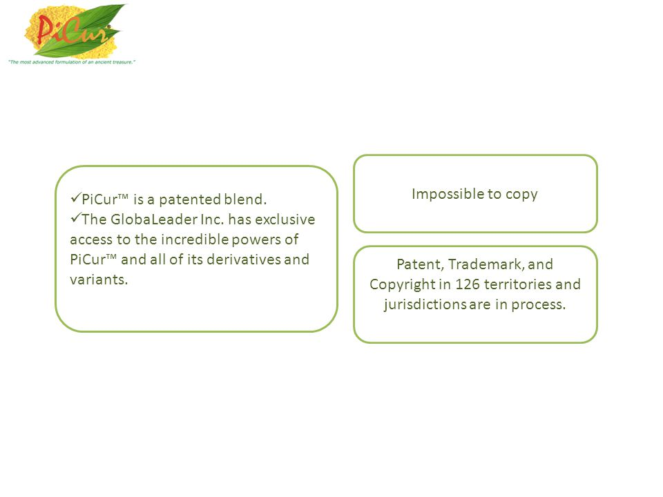 PiCur is a patented blend.The GlobaLeader Inc.