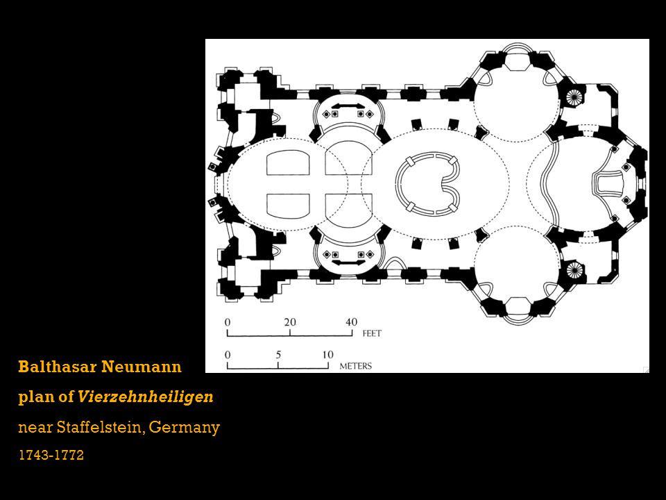 Balthasar Neumann plan of Vierzehnheiligen near Staffelstein, Germany 1743-1772