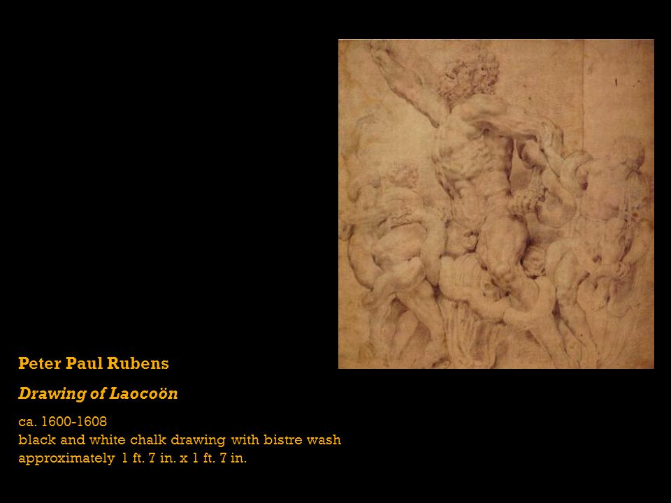 Peter Paul Rubens Drawing of Laocoön ca. 1600-1608 black and white chalk drawing with bistre wash approximately 1 ft. 7 in. x 1 ft. 7 in.