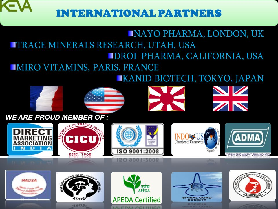 INTERNATIONAL PARTNERS WE ARE PROUD MEMBER OF : NAYO PHARMA, LONDON, UK TRACE MINERALS RESEARCH, UTAH, USA DROI PHARMA, CALIFORNIA, USA MIRO VITAMINS,