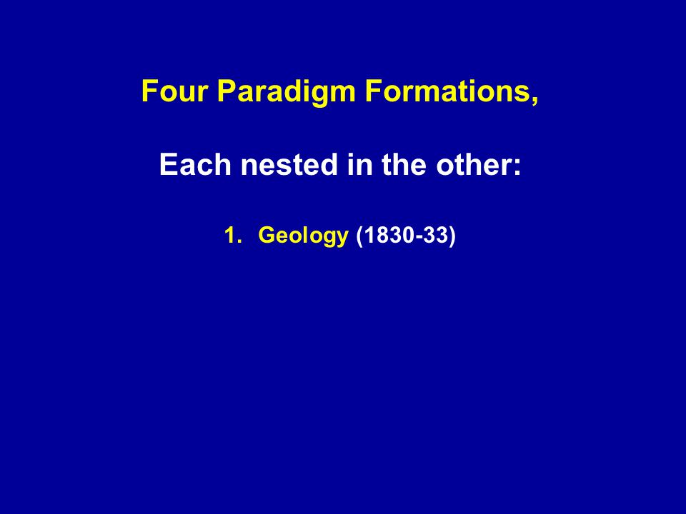 Four Paradigm Formations, Each nested in the other: 1.Geology (1830-33)