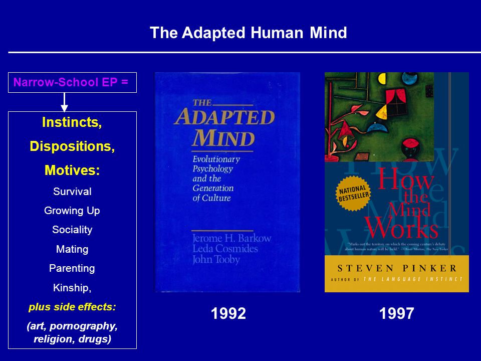 Instincts, Dispositions, Motives: Survival Growing Up Sociality Mating Parenting Kinship, plus side effects: (art, pornography, religion, drugs) Narrow-School EP = The Adapted Human Mind 19921997