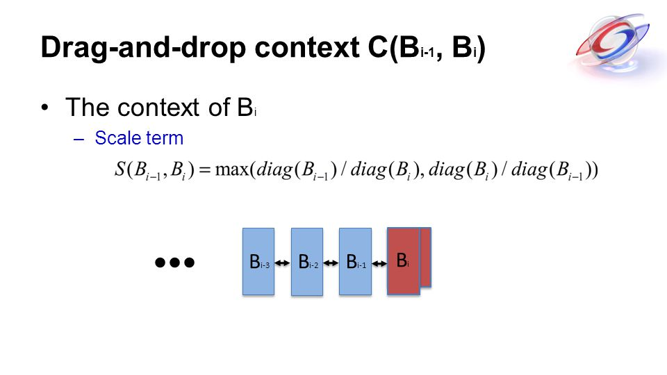 BiBi Drag-and-drop context C(B i-1, B i ) The context of B i –Scale term BiBi B i-1 B i-2 B i-3