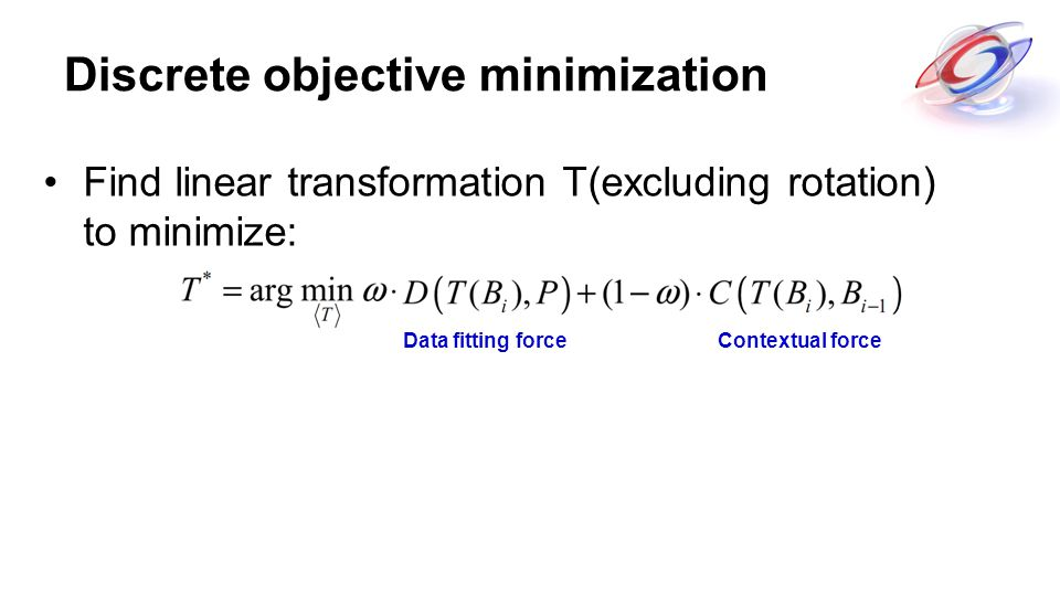 Discrete objective minimization Find linear transformation T(excluding rotation) to minimize: Data fitting forceContextual force