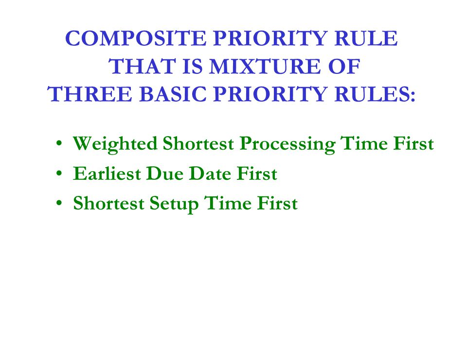 COMPOSITE PRIORITY RULE THAT IS MIXTURE OF THREE BASIC PRIORITY RULES: Weighted Shortest Processing Time First Earliest Due Date First Shortest Setup
