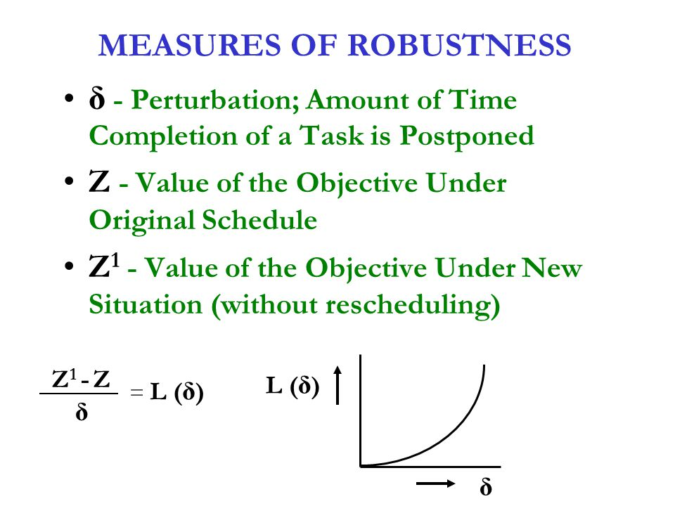 MEASURES OF ROBUSTNESS δ - Perturbation; Amount of Time Completion of a Task is Postponed Z - Value of the Objective Under Original Schedule Z 1 - Val