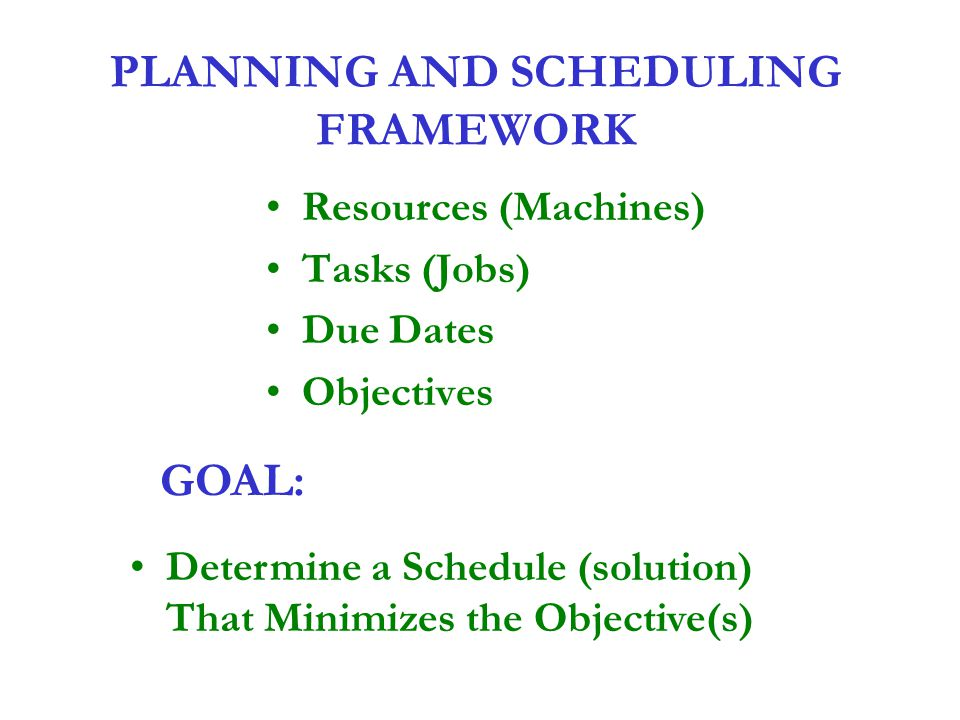 PLANNING AND SCHEDULING FRAMEWORK Resources (Machines) Tasks (Jobs) Due Dates Objectives GOAL: Determine a Schedule (solution) That Minimizes the Obje